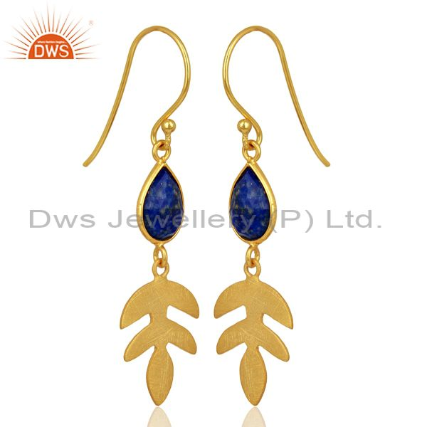 Exporter Lapis Lazuli Dangle 14K Yellow Gold Plated 925 Sterling Silver Earrings Jewelry