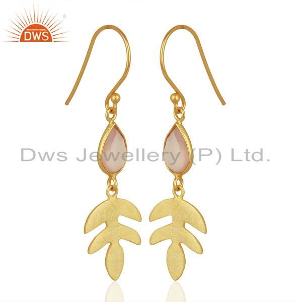 Exporter Rose Chalcedony Dangle 14K Yellow Gold Plated Sterling Silver Earrings Jewelry
