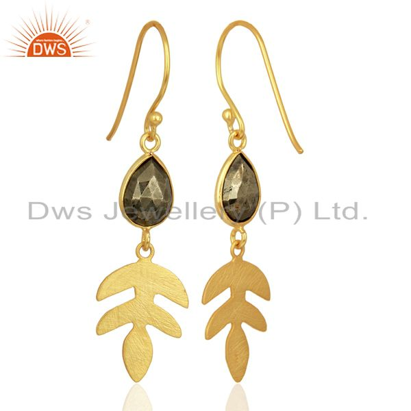 Exporter Pyrite Dangle 14K Yellow Gold Plated 925 Sterling Silver Earrings Jewelry