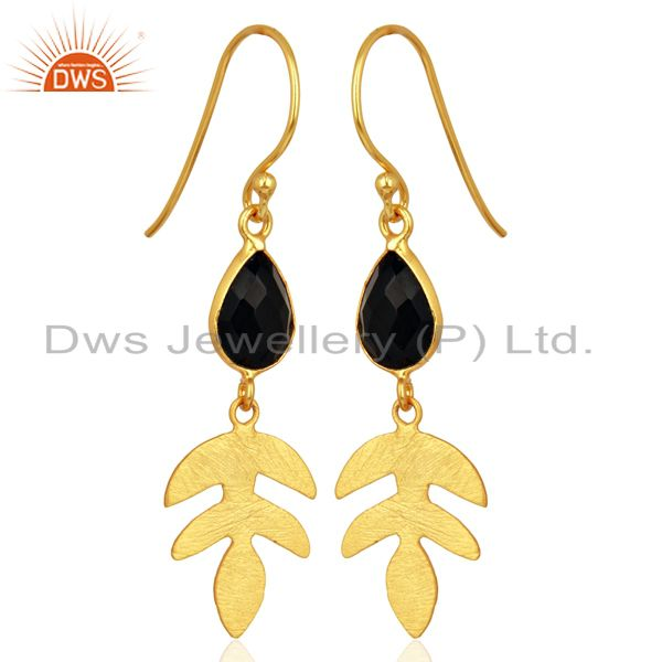 Exporter Black Onyx Dangle 14K Gold Plated Sterling Silver Earrings Gemstone Jewelry