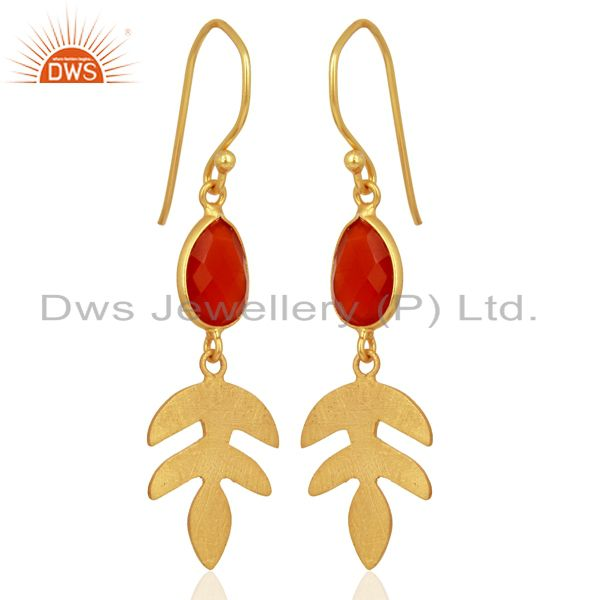 Exporter Red Onyx Dangle 14K Gold Plated Sterling Silver Earrings Gemstone Jewelry