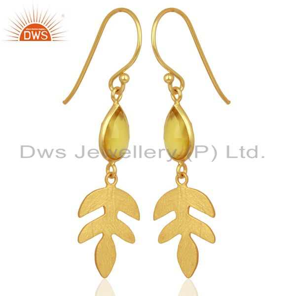 Exporter Yellow Chalcedony Dangle Gold Plated Sterling Silver Earrings Gemstone Jewelry