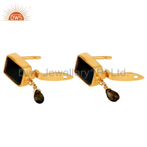 Exporter Multi Toumaline and Black Onyx Sterling Silver 18K Gold Plated Drop Earring