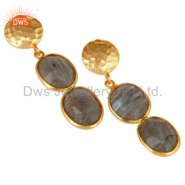 Exporter 18K Gold Plated Sterling Silver Labradorite and Hammered Disc Dangler Earring