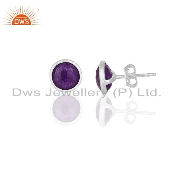 Exporter Purple Gemstone 925 Silver Round Stud Earrings Jewelry Manufacturers