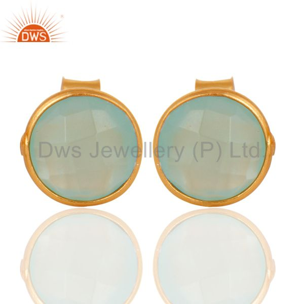Wholesalers 18K Yellow Gold Plated Sterling Silver Dyed Aqua Chalcedony Womens Stud Earrings