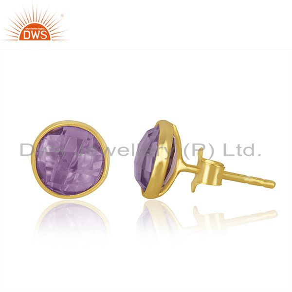 Exporter Natural Amethyst Studs 8MM Gold Plated 92.5 Sterling Silver Post Jewelry