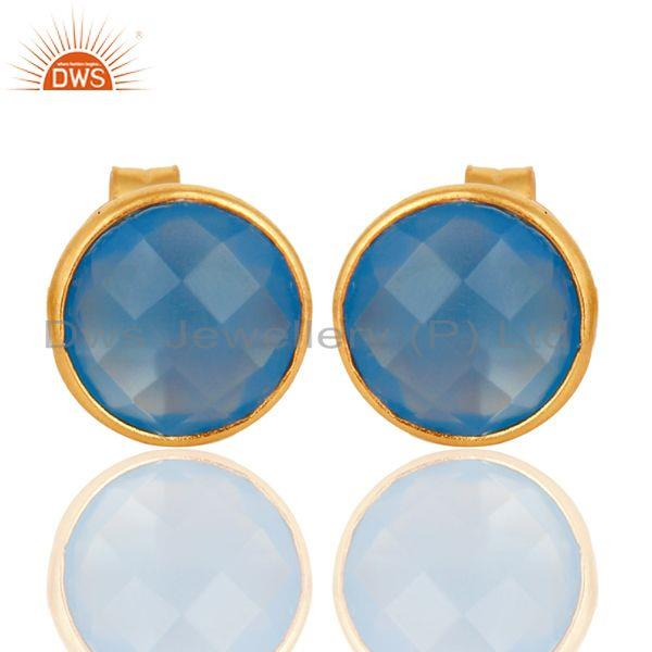 Wholesalers Faceted Dyed Chalcedony Stone Sterling Silver Round Stud Earrings - Gold Plated