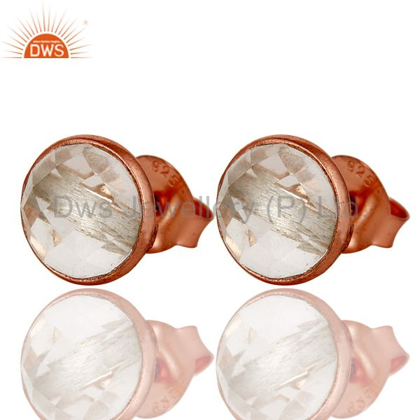Exporter 18k Rose Gold Plated 925 Sterling Silver Round Cut Crystal Quartz Stud Earrings