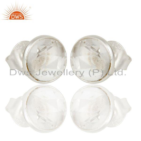 Exporter Handmade Solid 925 Sterling Silver Round Cut Crystal Quartz Stud Earring