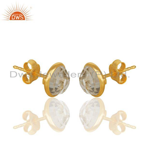 Exporter 18k Yellow Gold Plated 925 Sterling Silver Round Cut Crystal Quartz Stud Earring