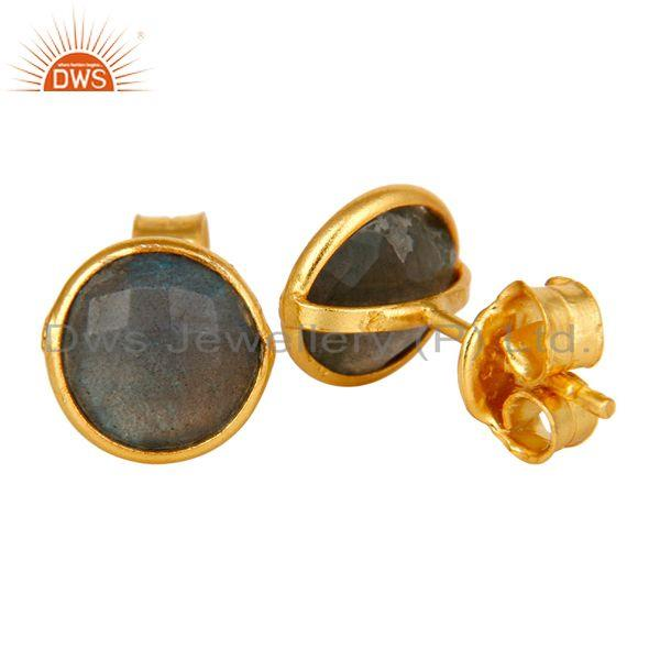 Suppliers 18K Yellow Gold Plated Sterling Silver Labradorite Gemstone Stud Earrings