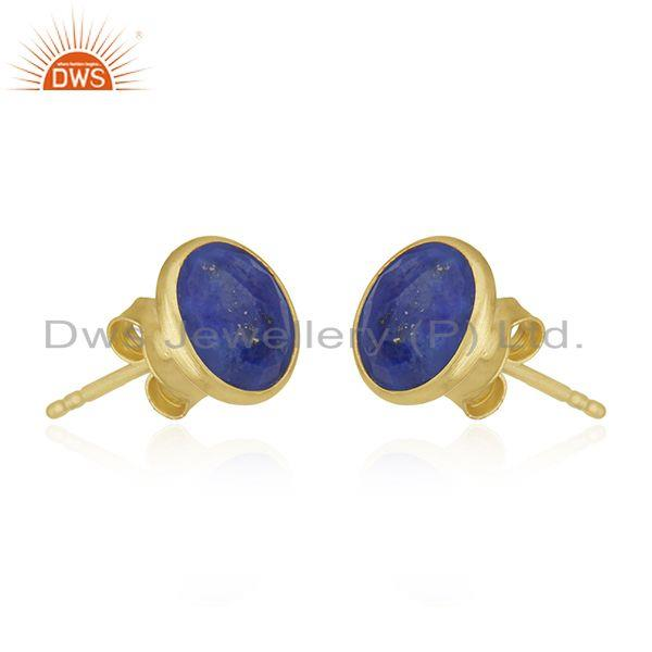 Suppliers 18K Yellow Gold Plated Sterling Silver Lapis Lazuli Gemstone Round Stud Earrings