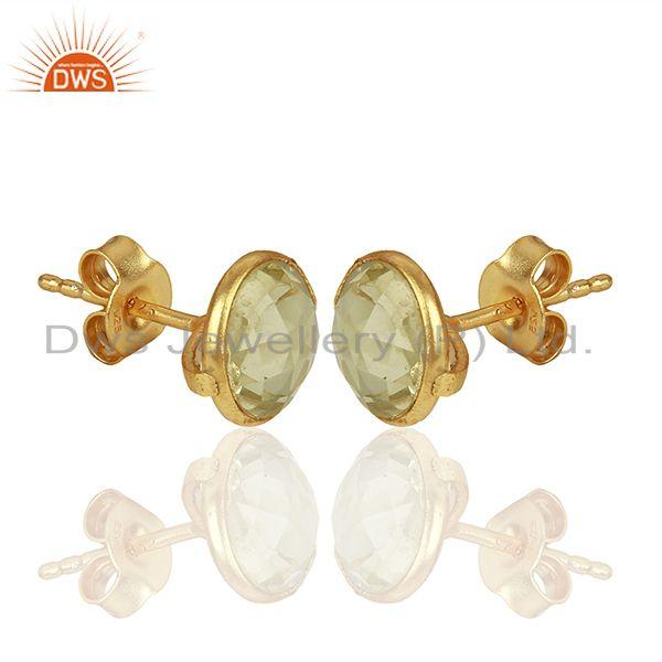 Exporter Gold Plated 925 Silver Lemon Topaz Gemstone Stud Earrings Supplier