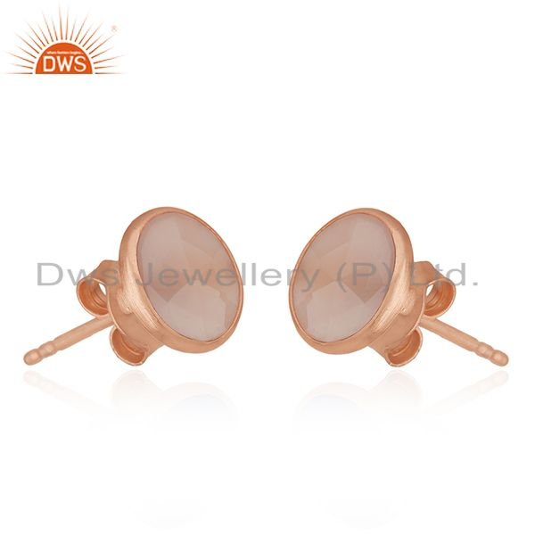 Suppliers 18K Rose Gold Plated Sterling Silver Faceted Rose Chalcedony Stud Earrings