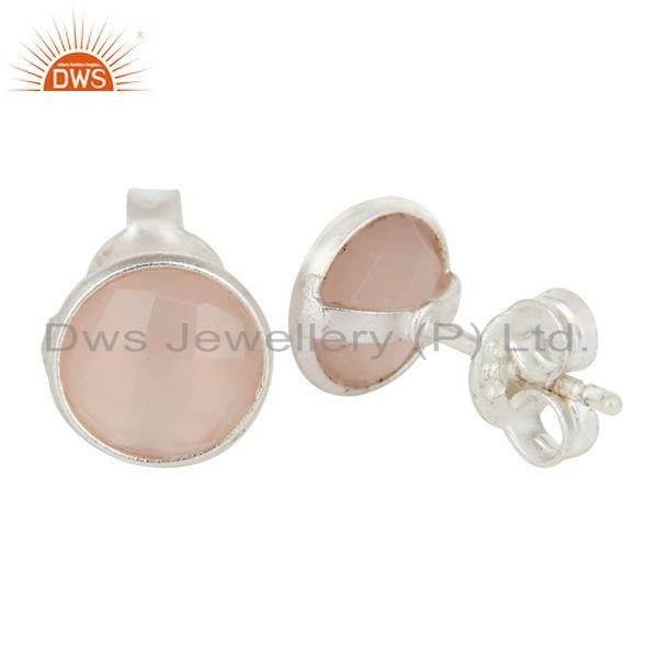 Exporter Solid 925 Sterling Silver Rose Chalcedony Gemstone Womens Stud Earrings