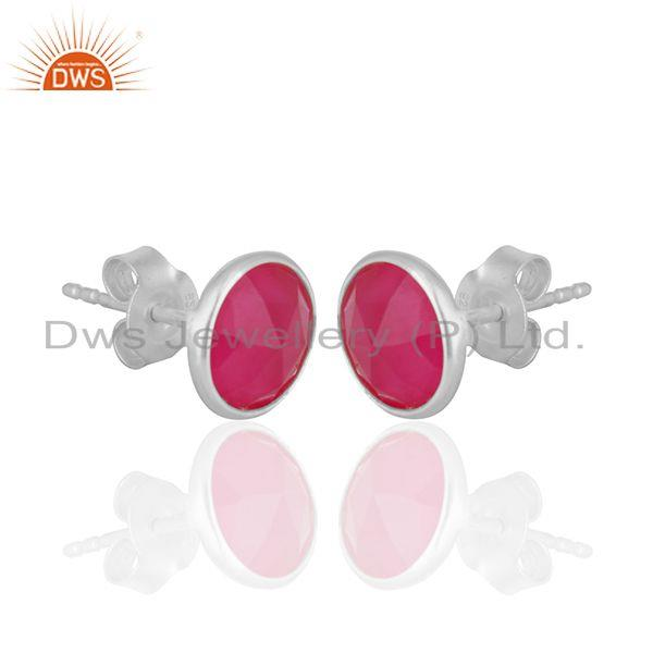 Exporter Pink Chalcedony Gemstone Round Sterling Silver Stud Earrings Wholesale