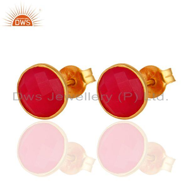 Wholesalers Dyed Pink Chalcedony Gemstone Stud Earrings In 18K Gold Over Sterling Silver