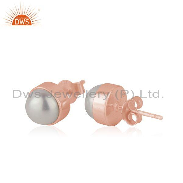 Exporter Natural Pearl Rose Gold Plated 925 Silver Teenage Girls Stud Earrings Supplier