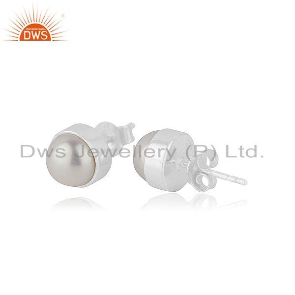 Exporter 925 Sterling Silver Pearl Round Stud Earring for Teenage Girls Jewelry Wholesale