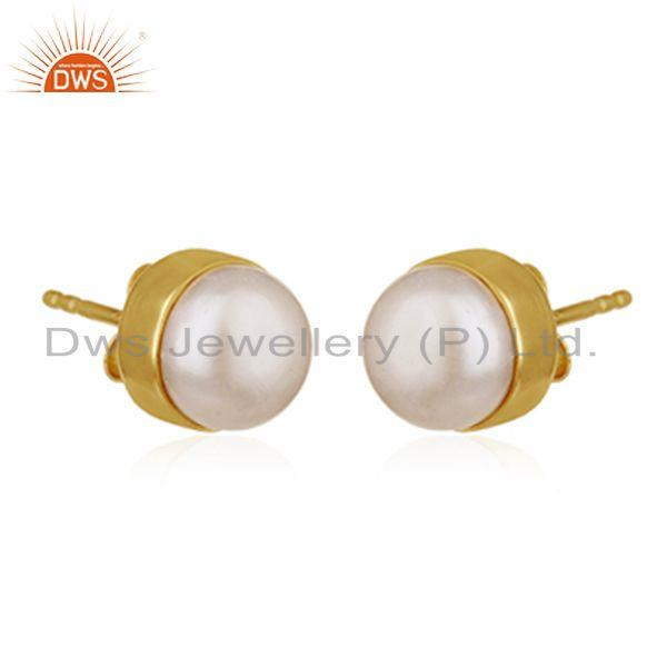 Exporter Natural Pearl Gold Plated 925 Silver Round Stud Earring for Girls Jewelry