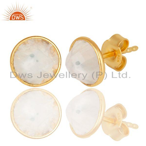 Exporter Rainbow Moonstone Gemstone Studs Earrings Made In 18K Gold Over Sterling Silver
