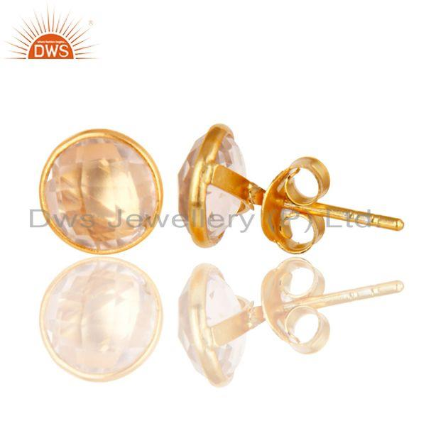 Wholesalers 14K Yellow Gold Plated 925 Sterling Silver Handmade Rose Quartz Studs Earrings