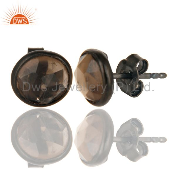 Exporter Black Oxidized Sterling Silver Round Cut Stud Earrings with Smokey Topaz