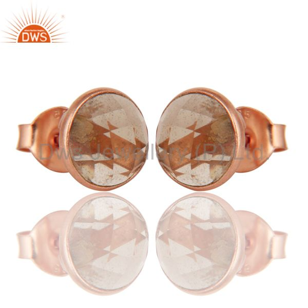 Exporter 18k Rose Gold Plated Sterling Silver Round Cut Stud Earrings with Smokey Topaz