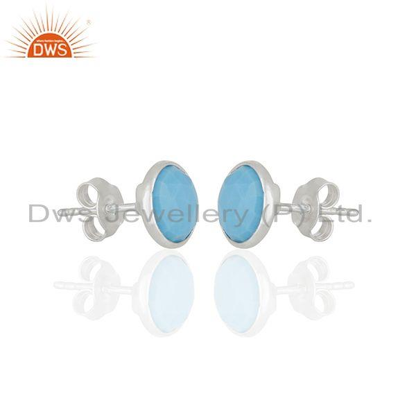 Exporter Round Turquoise Gemstone 92.5 Silver Stud Earring Jewelry Manufacturer