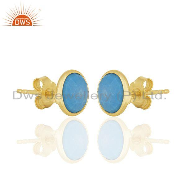 Exporter Turquoise Round Gemstone 92.5 Silver Stud Earrings Manufacturer
