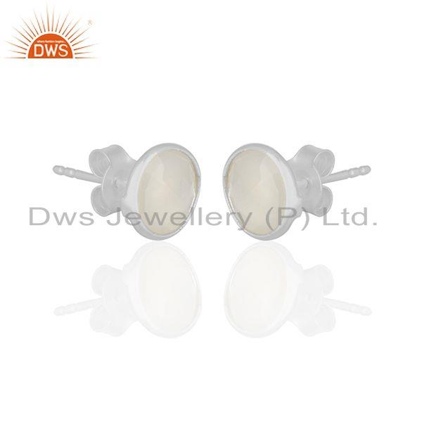 Exporter White Chalcedony Gemstone Round Silver Stud Earrings Jewelry Wholesale