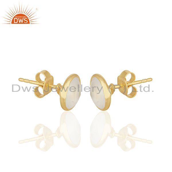 Exporter 18K Yellow Gold Plated Sterling Silver White Chalcedony Gemstone Stud Earrings
