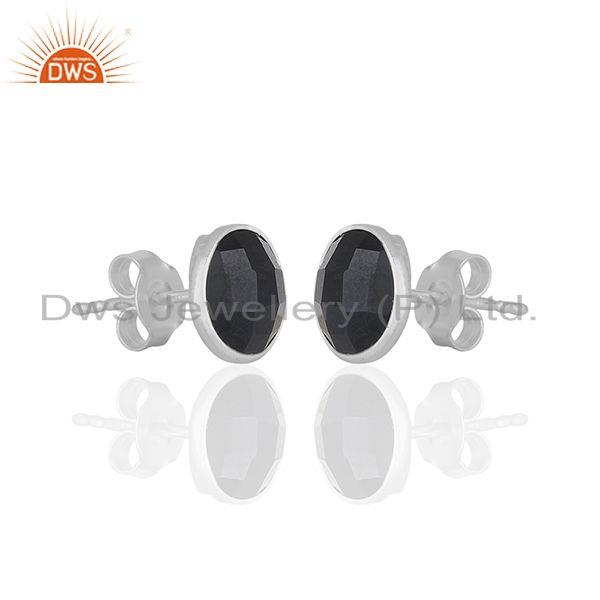 Exporter Black Onyx Round Gemstone 925 Silver Stud Earring Jewelry Manufacturer