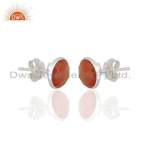 Exporter Red Onyx Gemstone Sterling Silver Round Stud Earrings Manufacturer