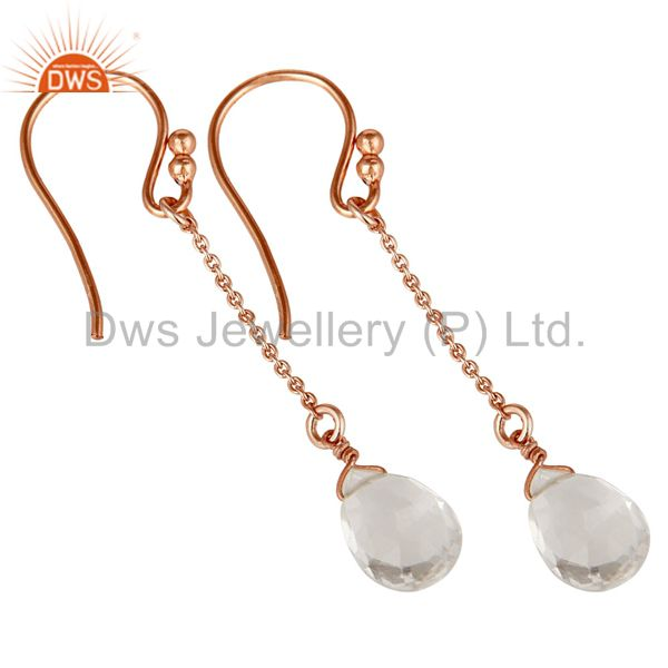 Exporter 18K Rose Gold Sterling Silver Chain Style Checkered Crystal Quartz Drop Earrings