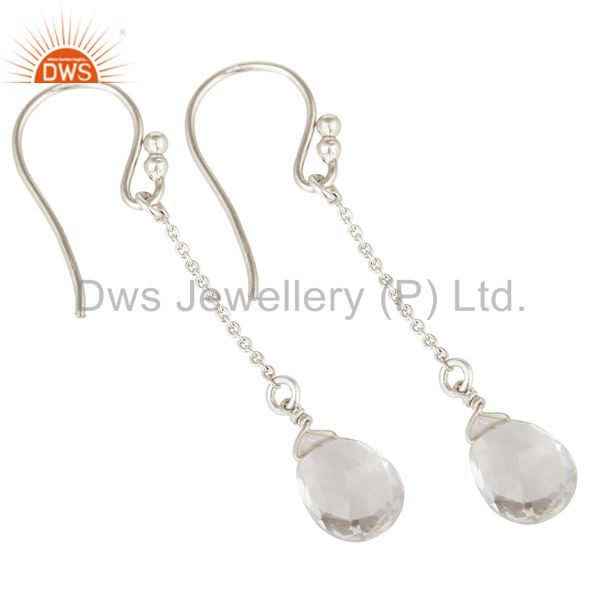 Exporter Solid 925 Sterling Silver Chain Style Checkered Crystal Quartz Drop Earrings