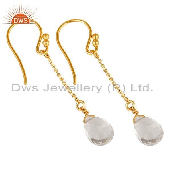 Exporter 18k Gold Plated Sterling Silver Handmade Chain Style Earring with Crystal Quartz