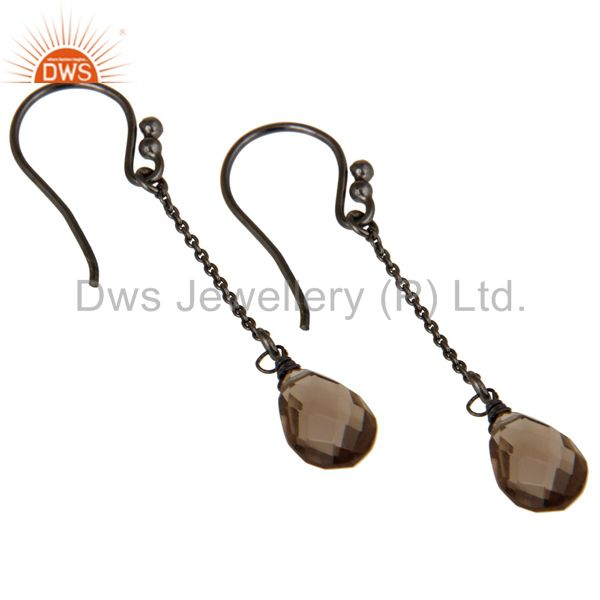 Exporter Handmade Black Oxidized Sterling Silver Chain Style Smokey Topaz Earrings