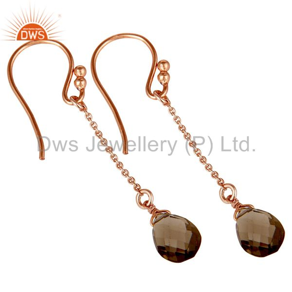 Exporter 18K Rose Gold Plated 925 Sterling Silver Chain Style Smokey Topaz Drops Earrings