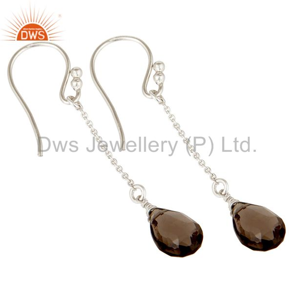 Exporter Handmade Solid 925 Sterling Silver Chain Style Smokey Topaz Dangle Earrings