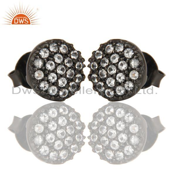 Exporter Black Oxidized Handmade Sterling Silver Stud Earrings with White Topaz