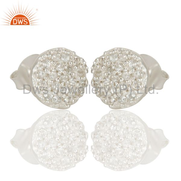 Exporter Handmade Solid Sterling Silver Round Cut Stud Earrings with White Topaz