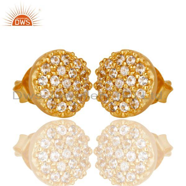 Exporter Beautiful Handmade 18k Gold Plated Sterling Silver Earrings with White Topaz