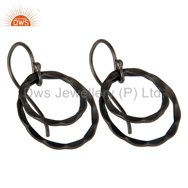 Exporter Black Oxidized 925 Sterling Silver Handmade Round Design Drops Earrings