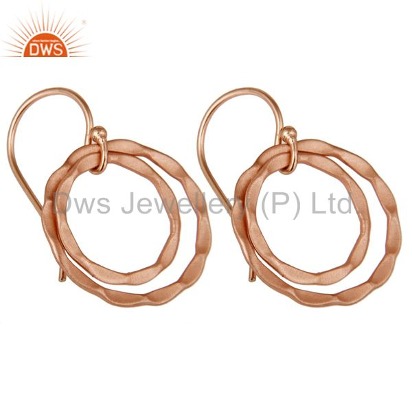 Exporter 18k Rose Gold Plated 925 Sterling Silver Round Designer Earrings Jewelry
