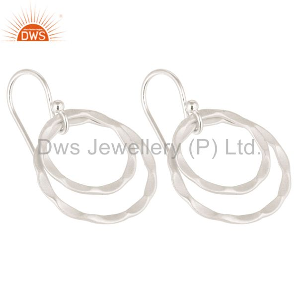 Exporter Solid 925 Sterling Silver Handmade Double Round Drops Design Earrings