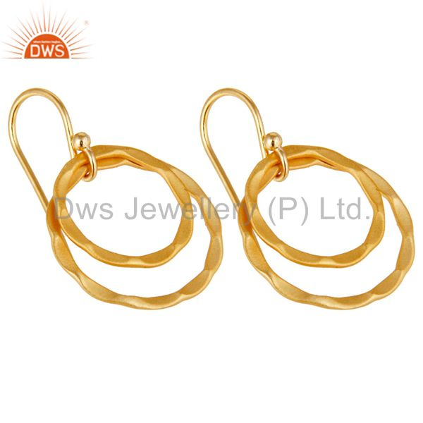 Exporter 18k Yellow Gold Plated Sterling Silver Handmade Round Design Earrings