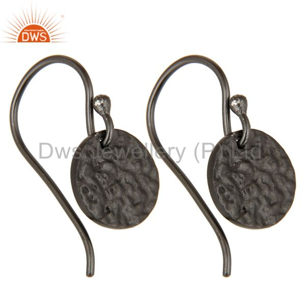 Exporter Black Oxidized Sterling Silver Handmade Textured Dangle Earrings