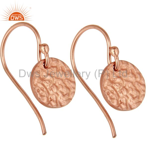 Exporter 18k Rose Gold Plated 925 Sterling Silver Textured Designer Earrings Jewelry